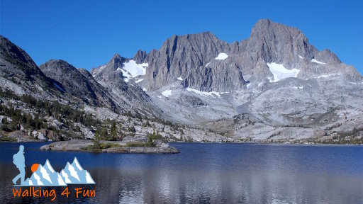 Garnet Lake with Banner Peak looming in the distance and reflected in the water.