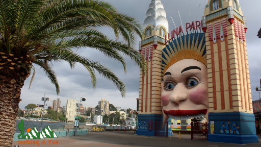 Creepy giant head where people can walk through the mouth as the entrance of Luna Park